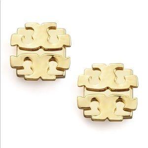 Tory Burch Logo Stud Earrings Gold